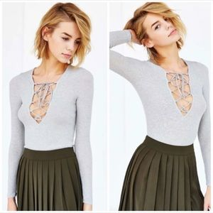 Urban Outfitters Ribbed Grey Lace Up Top